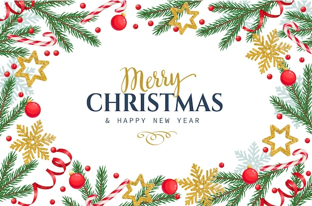 Weihnachtsrahmenschablone mit fichtenzweigen, schneeflocken, weihnachtsverzierung und stechpalmenbeeren.