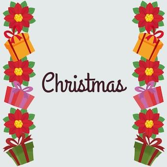 Weihnachtsrand mit weihnachtsstern und geschenkbox