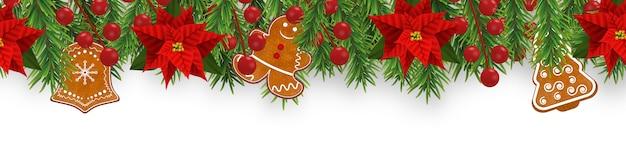 Weihnachtsranddekorationen mit tannenzweigen