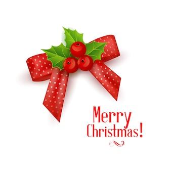 Weihnachtsrealistischer bogen mit stechpalmenbeere