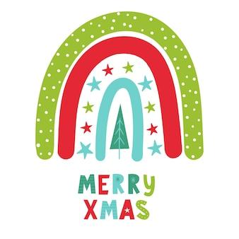 Weihnachtsregenbogen mit handbeschriftung merry xmas vector handgezeichnete farbkinderillustration