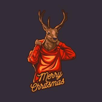 Weihnachtsren trägt hoodie