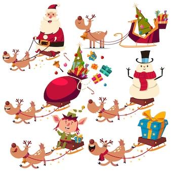 Weihnachtsrentier-, weihnachtsmann-, schneemann- und elfencharaktere auf schlittenkarikatursatz lokalisiert auf weißem hintergrund.