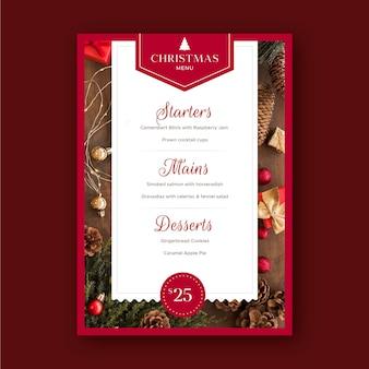 Weihnachtsrestaurant menüvorlage