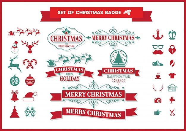 Weihnachtsretro- vektorausweis und elementsatz