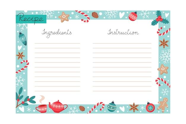 Weihnachtsrezept backvorlage mit zutaten und anweisungen backen