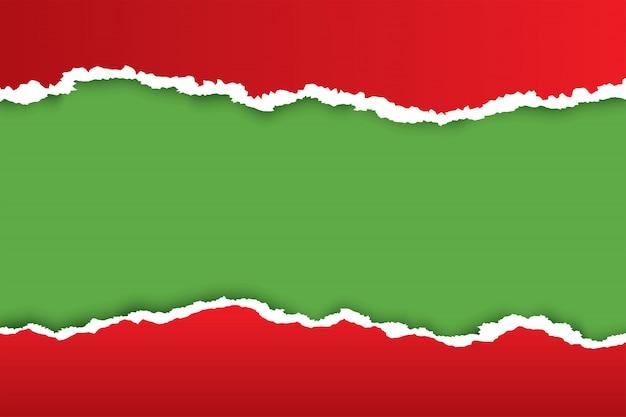 Weihnachtsrot zerrissener papierhintergrund mit grüner farbe