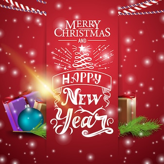 Weihnachtsrote karte mit weihnachtsgeschenken