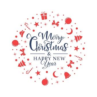 Weihnachtsrote symbole werden zufällig auf einem weißen hintergrund in form eines kreises angeordnet.