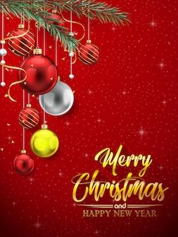 Weihnachtsroter hintergrund mit bunten bällen