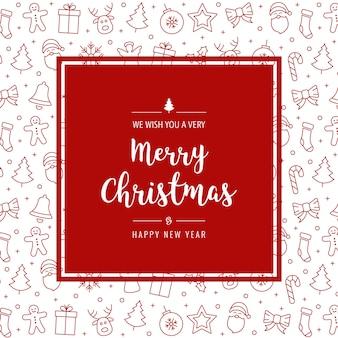 Weihnachtsroter ikonenelementkarten-gruß-rahmenhintergrund
