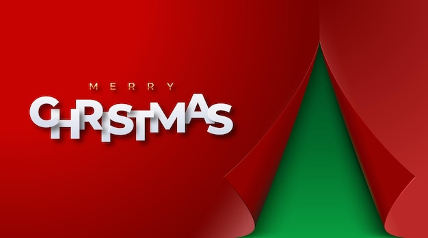 Weihnachtsrotes papierblatt mit gekräuselten ecken bunter vektor-weihnachtsbaum aus gerollter falte