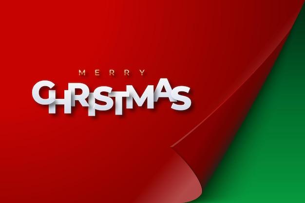 Weihnachtsrotes papierblatt mit gewellter ecke gewellte seitenecke mit schatten