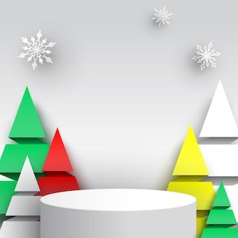 Weihnachtsrundes podium mit schneeflocken und papierbäumen messestand stand