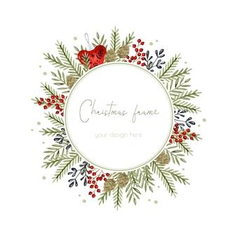 Weihnachtsrustikale tannenzweige und beerenaquarellrahmenschabloneneinladungskarte