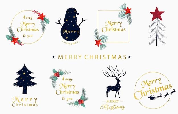 Weihnachtssammlung mit weihnachtsbaum, schneemann, kranz, blume.