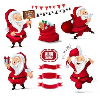 Weihnachtssammlung santa claus-charaktere und -bänder