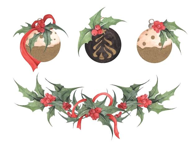 Weihnachtssammlung von kugeln für einen weihnachtsbaum. aquarellillustration.