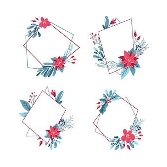 Weihnachtssatz des geometrischen polygonrahmens mit blumenstraußkranz