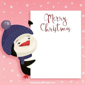 Weihnachtsschablone mit pinguin