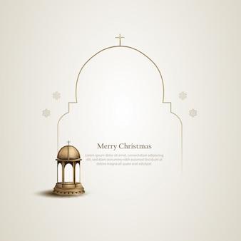 Weihnachtsschablonen-kartenentwurf mit goldener kirchenlaterne