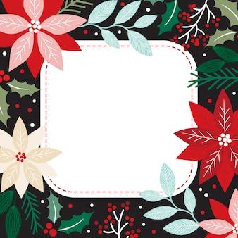 Weihnachtsschablonenkarte mit weihnachten mit blumen und poinsettia