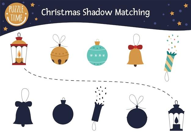 Weihnachtsschatten-matching-aktivität für kinder.
