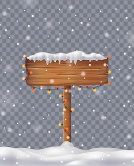 Weihnachtsschild mit schneekappen und realistischem konzept der schneeverwehungen auf transparentem hintergrund