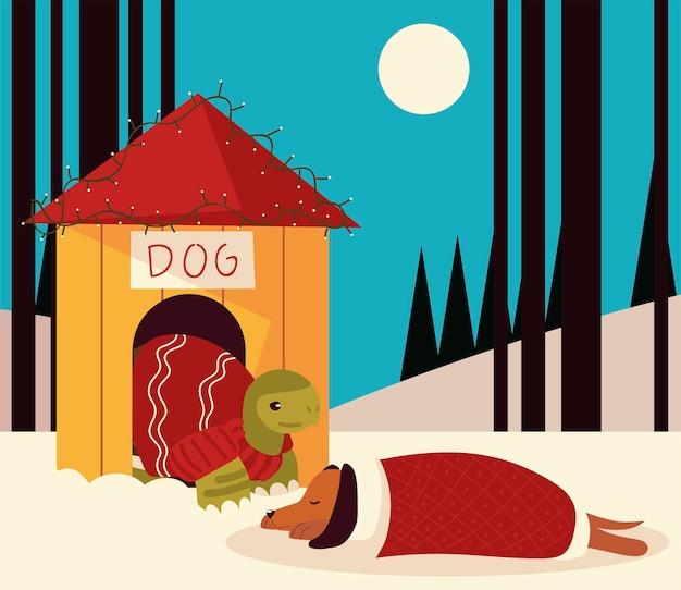 Weihnachtsschildkröte im haus und im schlafenden hund in der schneeszenenvektorillustration