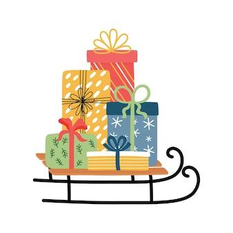 Weihnachtsschlitten mit geschenkboxen.