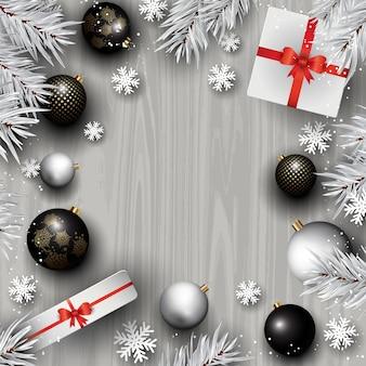 Weihnachtsschmuck auf holz hintergrund