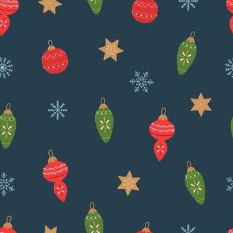 Weihnachtsschmuck und schneeflocken auf dunklem hintergrund nahtloses muster