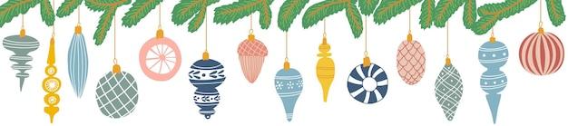 Weihnachtsschmuck und tannenbaum im cartoon-stil. fichtenzweig mit dekorativen bunten kugeln