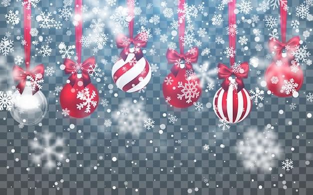 Weihnachtsschnee. fallende schneeflocken auf dunklem hintergrund