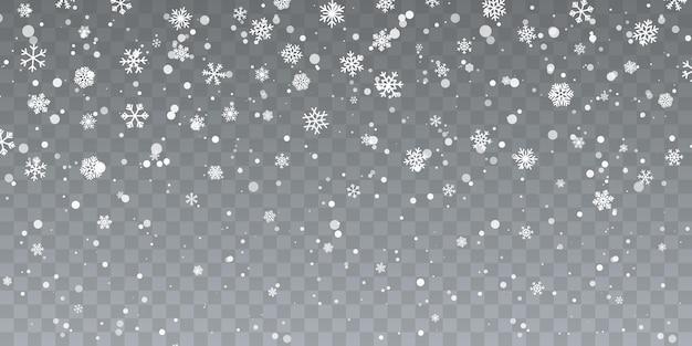 Weihnachtsschnee. fallende schneeflocken auf transparentem hintergrund. schneefall. vektor-illustration.