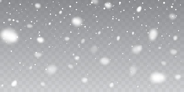 Weihnachtsschnee. fallende schneeflocken auf transparentem hintergrund. schneefall.