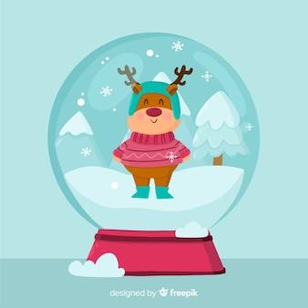 Weihnachtsschneeballkugel im flachen design