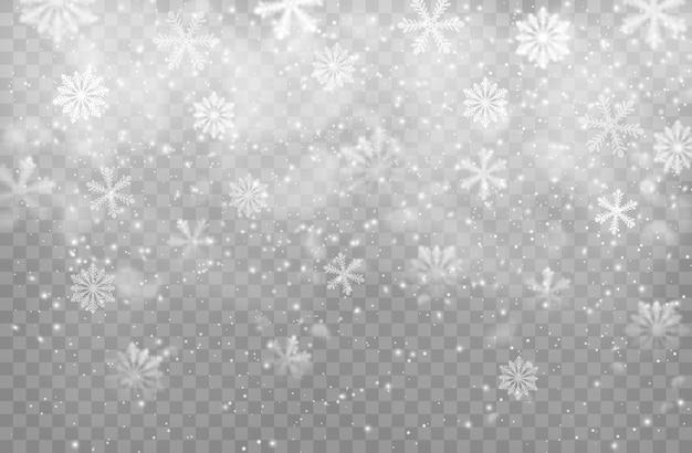 Weihnachtsschneefall und schneeflocken
