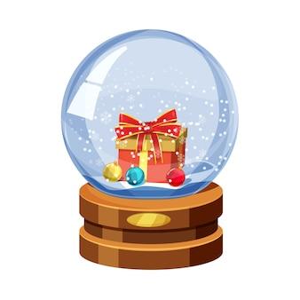 Weihnachtsschneekugel mit fallendem schnee, mit geschenk- und weihnachtskugeln