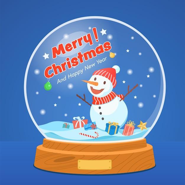 Weihnachtsschneekugel mit schneemann auf blauem sternenhimmel