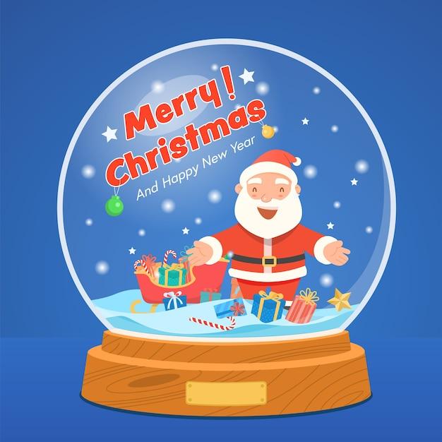 Weihnachtsschneekugel mit weihnachtsmann und geschenkbox auf sternenblau