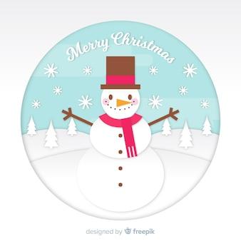 Weihnachtsschneemann in der papierart