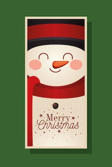 Weihnachtsschneemann mit zylinder und frohe weihnachtsbeschriftungsillustration
