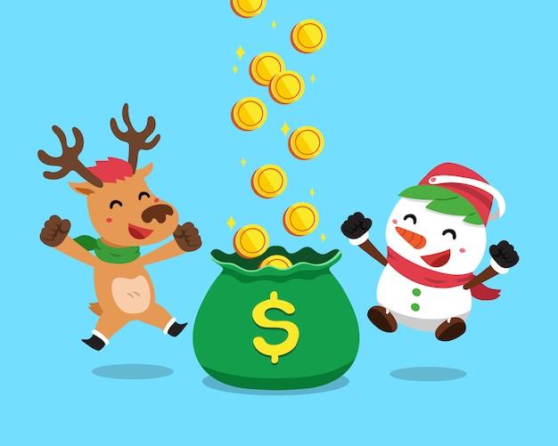 Weihnachtsschneemann und -ren, die geld verdienen