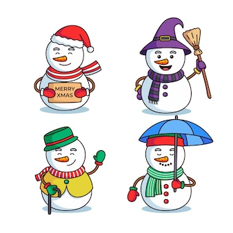 Weihnachtsschneemannkarikaturillustrationssatz