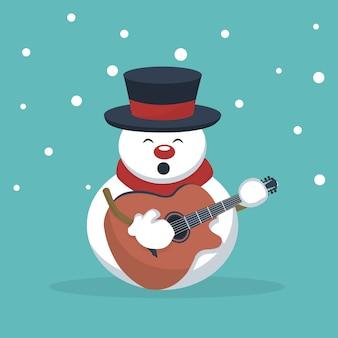 Weihnachtsschneemannmusiker, der gitarrenkarte spielt