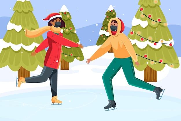 Weihnachtsschneeszene - masken tragen