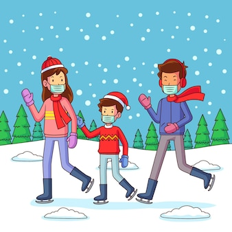 Weihnachtsschneeszene mit der familie, die masken trägt