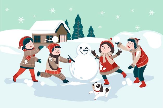 Weihnachtsschneeszene mit kindern und schneemann