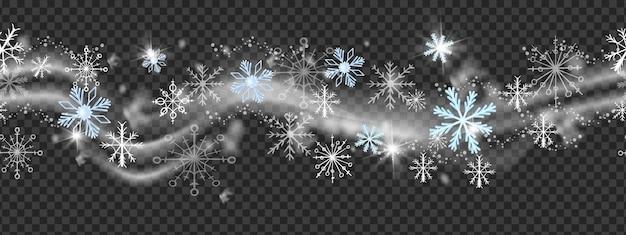 Weihnachtsschneewindvektorfeiertagsgrenzewinterweihnachtsblizzardrahmen auf transparentem hintergrund